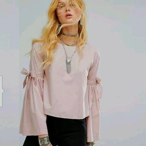Free People Pink Blouse Shirt Small Bell Sleeve